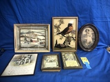 VARIOUS SMALL VINTAGE FRAMED PITCURES & DECORATOR ART