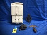 METAL MAIL BOX, CAST IRON SCRAPER & BILL HOLDER
