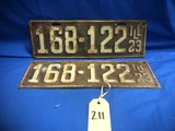 PAIR OF 1923 ILLINOIS LICENSE PLATES