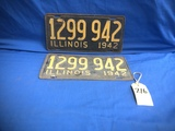 PAIR OF 1942 ILLINOIS LICENSE PLATES