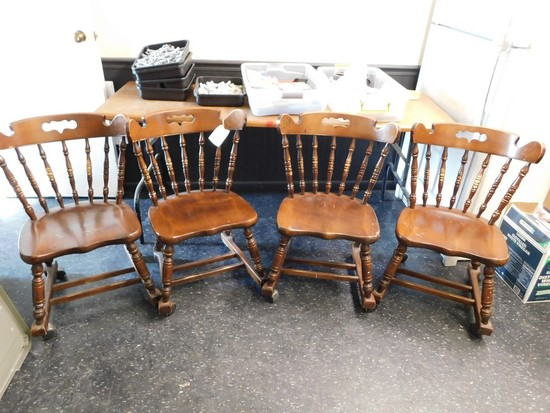 (4) MAPLE ETHAN ALLEN ROLL AROUND KITCHEN CHAIRS