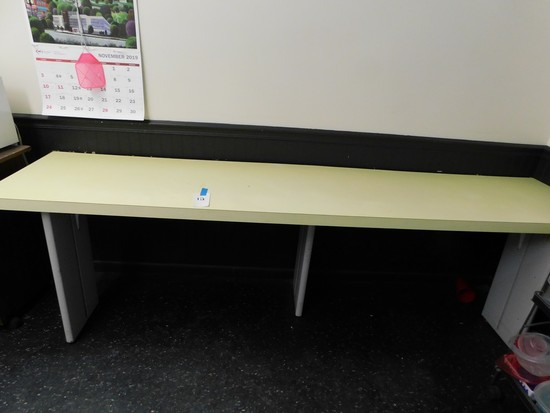 8FT X 21IN YELLOW RETRO KICHEN COUNTER TOP W/ STEEL LEGS