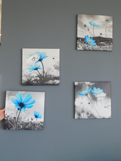 (4) BLUE FLORAL CANVAS DECORATOR PRINTS