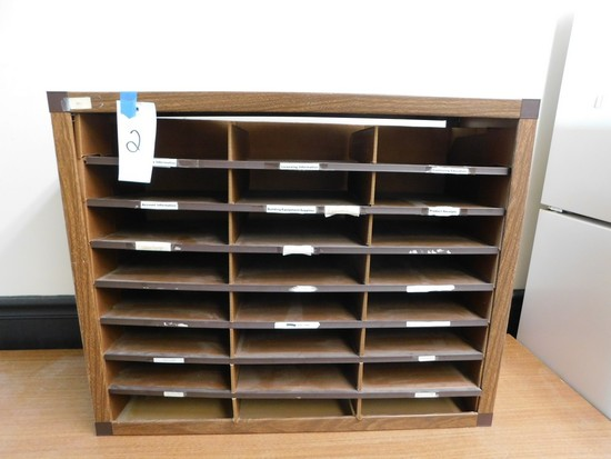 METAL COUNTER TOP 24 COMPARTMENT OPEN FRONT DOCUMENT FILE