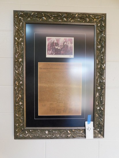 LG FRAMED COPY OF THE DECLARATION OF INDEPENDENCE