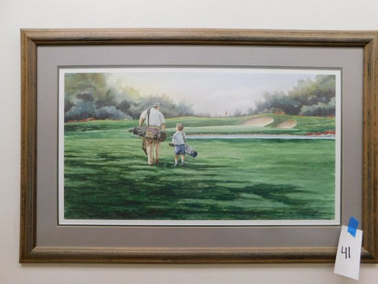 FRAMED & MATTED M. CAPSER #589/999 GOLF CORSE PRINT