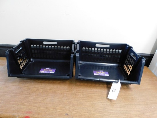 (7) BLACK PLASTIC STACKABLE STORAGE BINS