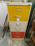 (2) THREE DRAWER METAL FILE CABINETS W/ MULTI COLOR DRAWERS
