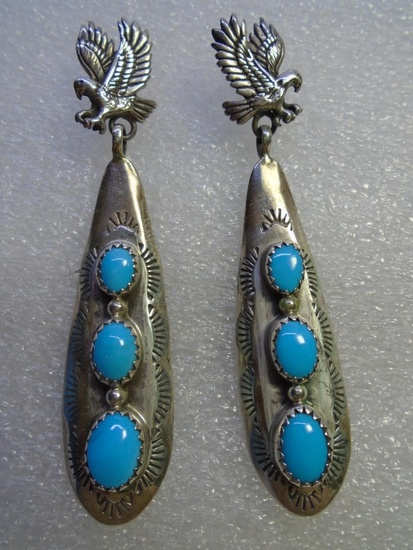 RB TURQUOISE EAGLE EARRINGS STERLING SILVER