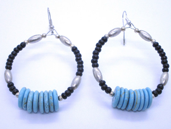 NAVAJO PEARL STERLING SILVER BEAD EARRING TURQUOIS