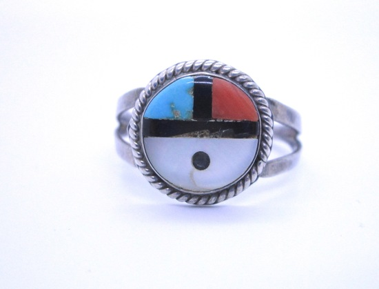 SUNFACE RING STERLING SILVER HALLMARKED INLAY