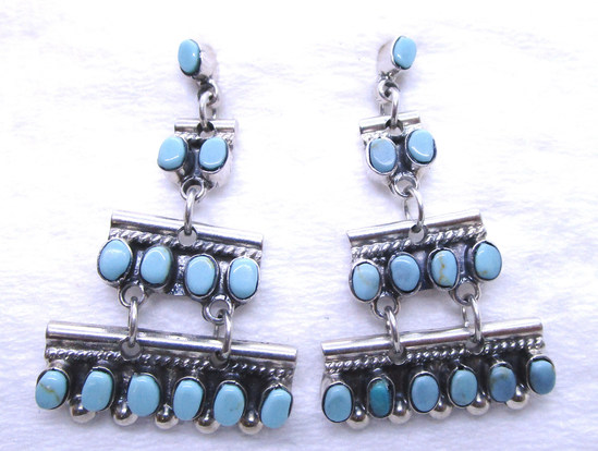SIGNED HOB TURQUOISE EARRINGS STERLING SILVER