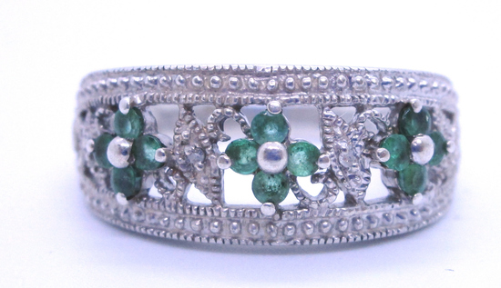 EMERALD DIAMOND RING STERLING SILVER