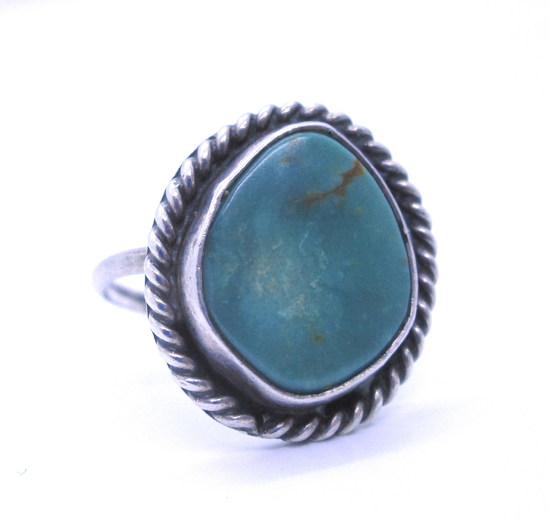 ROYSTON TURQUOISE RING STERLING SILVER OLD PAWN