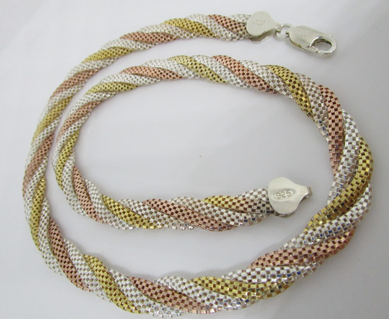 TRICOLOR NECKLACE GOLD ON STERLING SILVER CHAIN