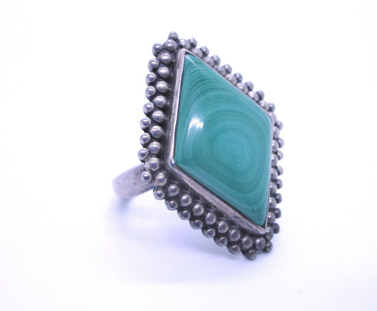 MALACHITE RING STERLING SILVER WOW