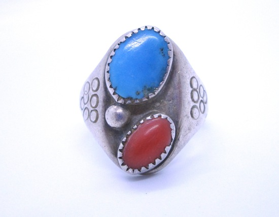 DEAD PAWN TURQUOISE CORAL RING STERLING SILVER