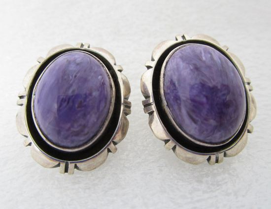 CARROL FELLEY STERLING SILVER EARRINGS SUGILITE