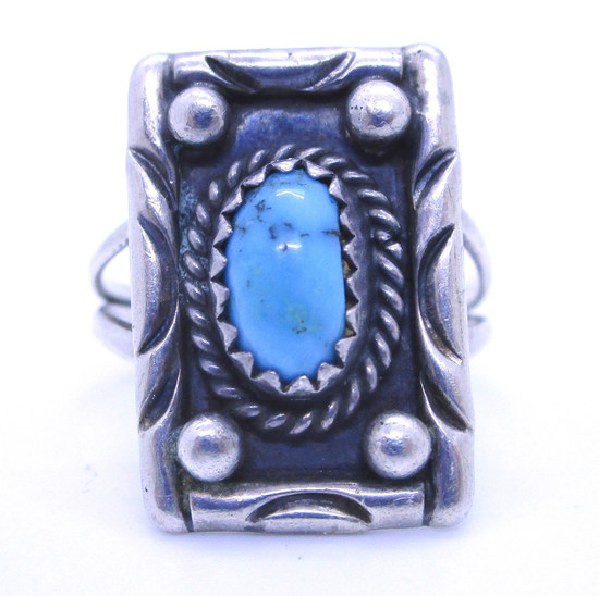 F YAZZI TURQUOISE RING STERLING SILVER