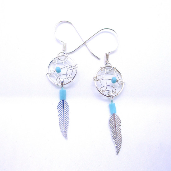 DREAM CATCHER EARRINGS TURQUOISE STERLING SILVER
