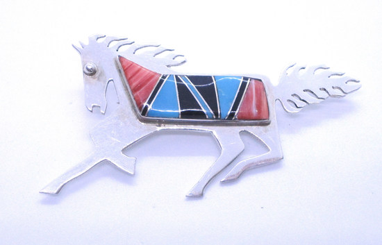 ELLA COWBOY INLAY TURQUOISE PIN STERLING SILVER
