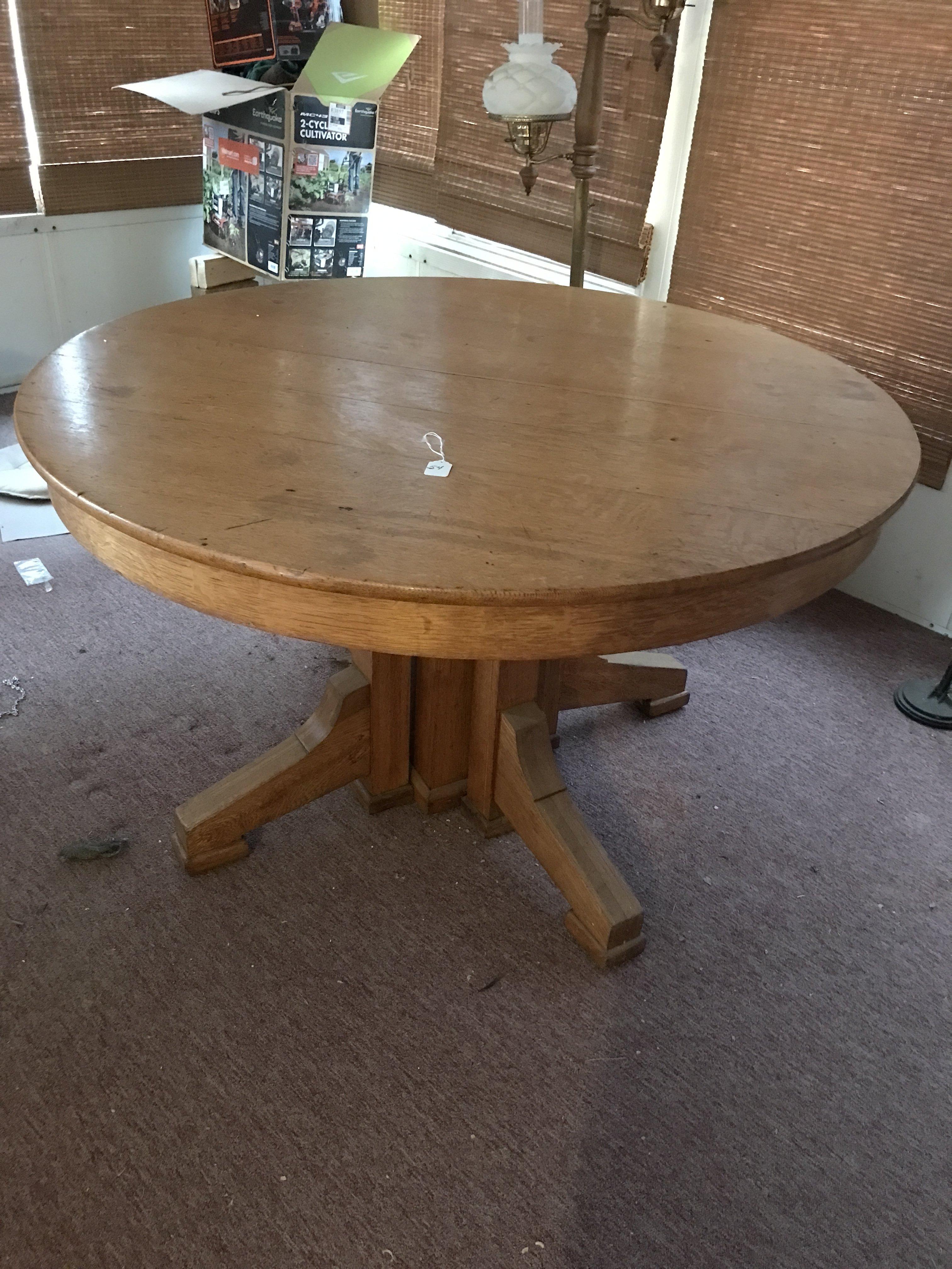 Antique Oak Round Kitchen Table Is 48\