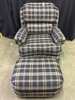 Smith Brothers Tilt Back, Wing Back Upholstered Chair & Ottoman