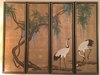 4-Panel Oriental Design Oil Of Canvas W/Birds