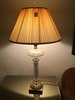 Pair Of Brass & Glass Table Lamps W/Cloth Shades