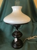 Electric Lamp W/Milk Glass Shade