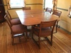 Antique Oak Dining Room Table W/Drop Leaves & (6) Chairs