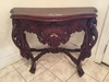 Contemporary Heavily Carved Entry Stand W/Scalloped Top & Carved Crest