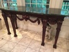 Contemporary Heavily Carved Sofa Table W/Marble Top