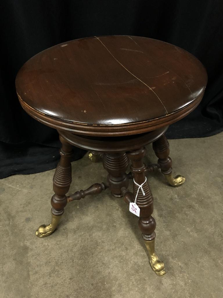 Astonishing Lot Antique Adjustable Piano Stool W Dolphin Head Feet Theyellowbook Wood Chair Design Ideas Theyellowbookinfo