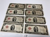 2-1928C, 1928G. 5-1928D, Red Seal, $2.00 Silver Certificates