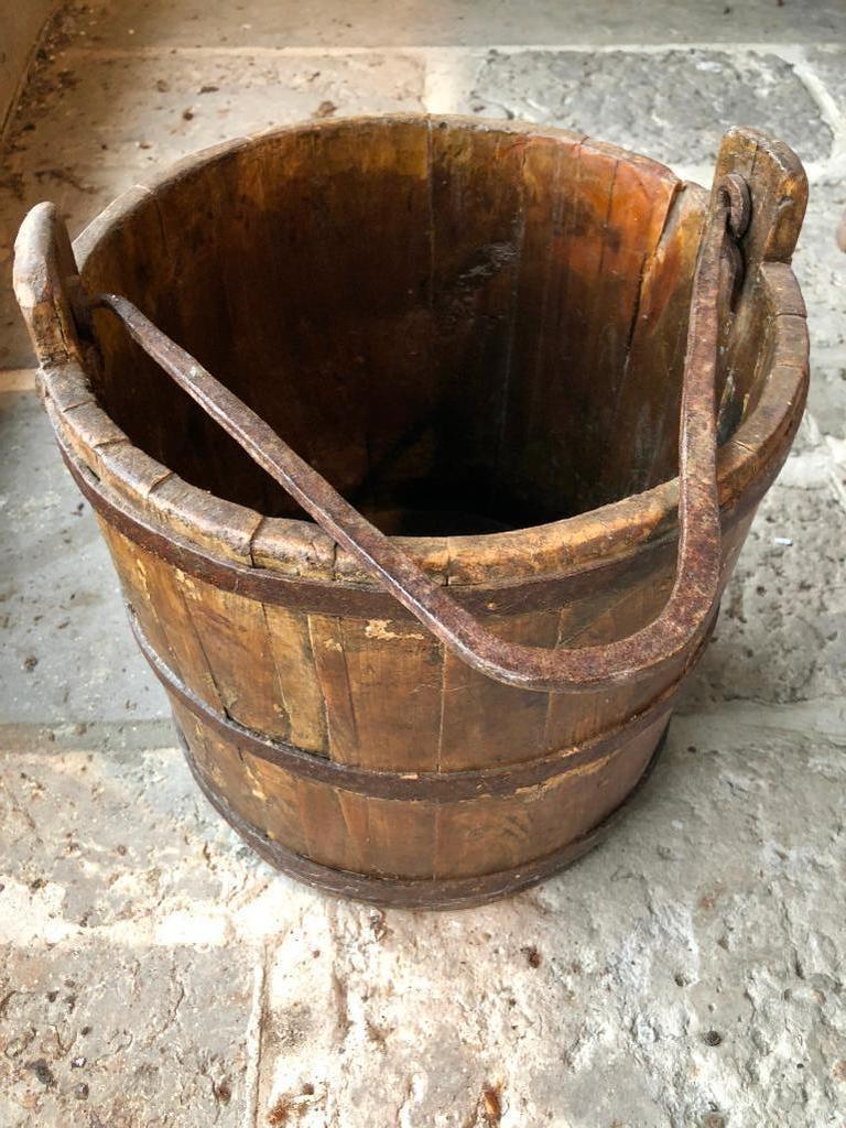 Antique Primitive Wooden Bucket W/Iron Bands & Handle