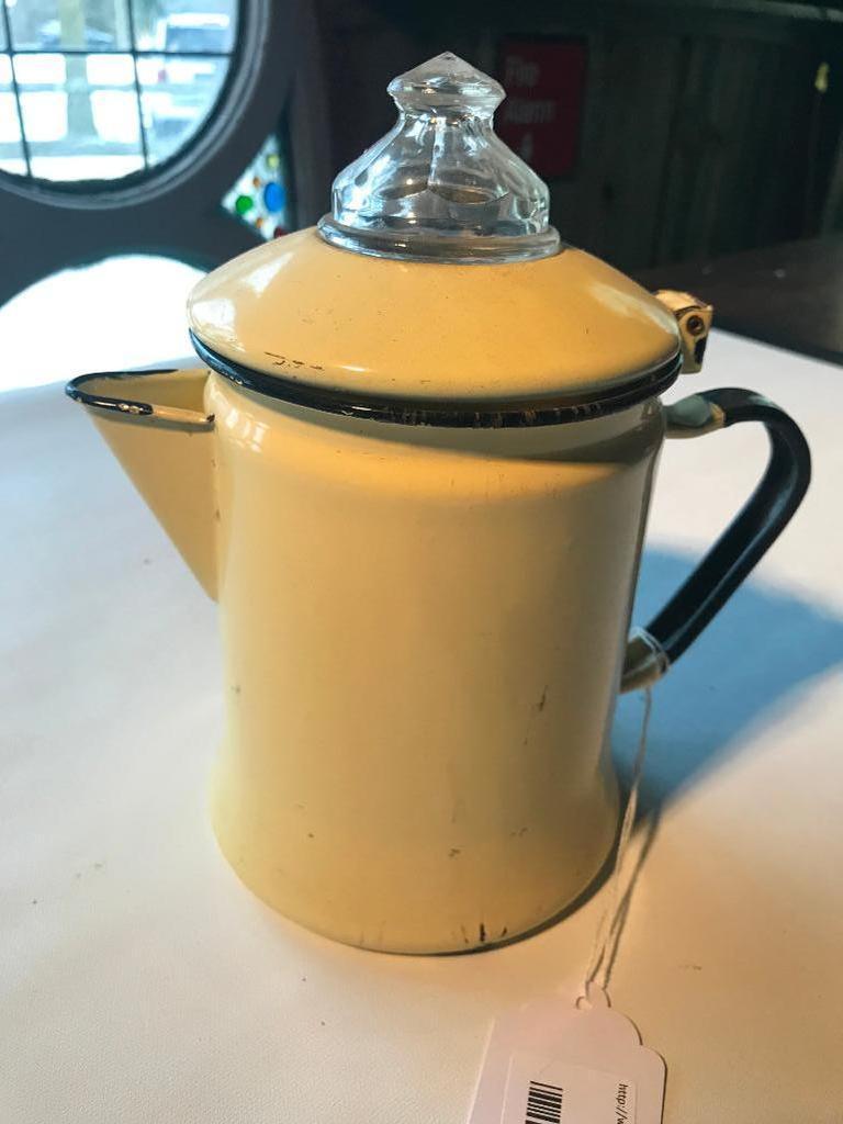 Vintage Yellow Enameled Coffee Pot