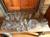 (32) Pcs. Clear/Pressed Glassware
