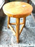 Hand Carved Wood Stool from Canada, Approx. 23 Inches Tall