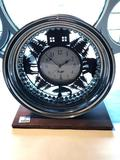 Battery Operated Clock in Chrome Rim on Board, Just over 16 Inches Tall