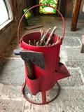 Vintage Coal Bucket with Dispenser Door, and Side Tool Holders, Comes with Hatchet, 15 Inches Tall
