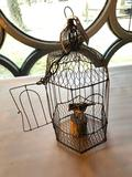 Vintage Wire Birdcage with Folk Art, Wire Bird on Small Piece of Wood, Cage is 17 Inches Tall