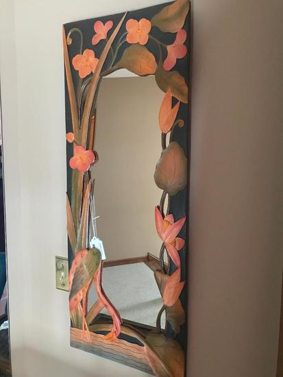 Relief Carved Wall Mirror W/Flamango's & Flowers