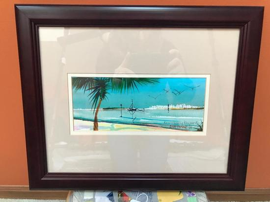 Framed & Matted Watercolor Of Key West-Artist Signed