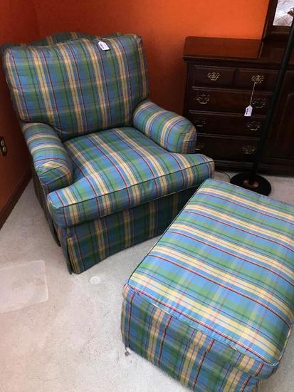 Plaid Upholstered Armchair W/Matching Ottoman