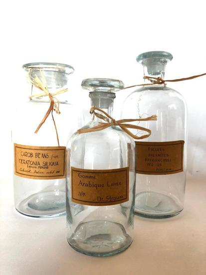 Three Apothecary Bottles, The Tallest is 9.5 Inches Tall