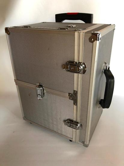 Silver Cosmetic Tote on Wheels with all Contents Shown, Brushes and More!