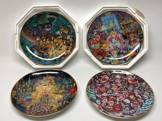 (4) Franklin Mint Cat Plates By Bill Bell