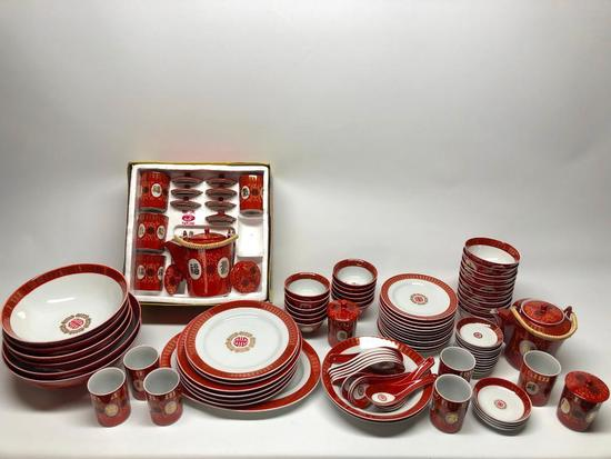 Appox. (70) Pcs. Oriental Design Dinner Set-Matching Pattern