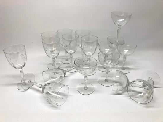 (17) Pcs. Vintage Etched/Wheel Cut Glassware